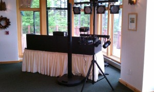 Echo Lake Lodge, Warrensburg, New York Bose L1 set up with LED dance floor lights